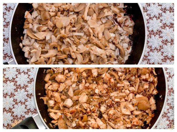 Шаг 4: Добавляем грибы. Обжариваем