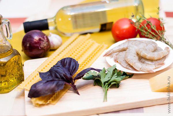 Ингредиенты для итальянской пасты с креветками