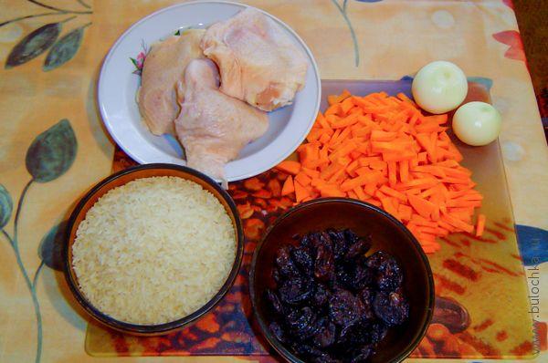 Ингредиенты на плов с курицей