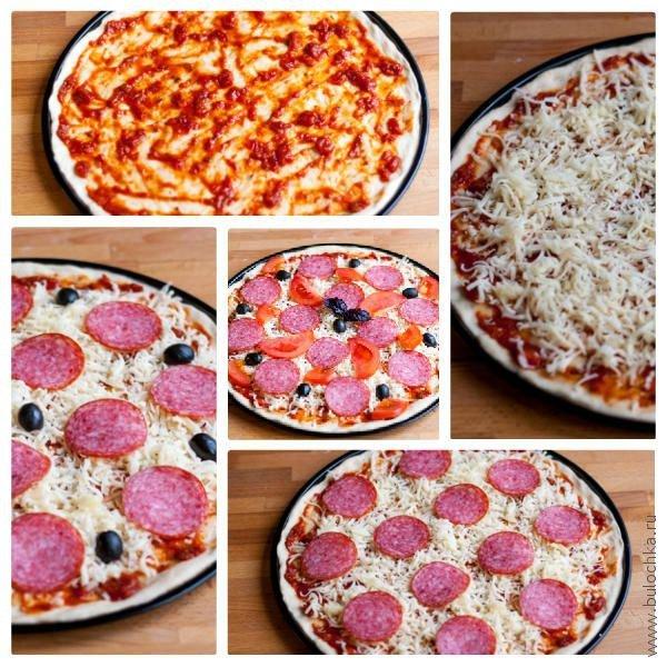 Выкладываем компоненты пиццы слоями