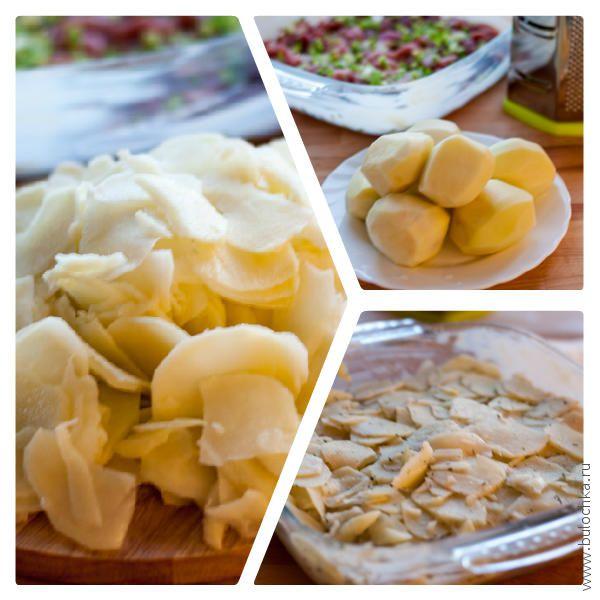 Картофель режем тонкой стружкой, добавляем к мясу