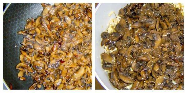 Добавляем грибы в чашу с салатом