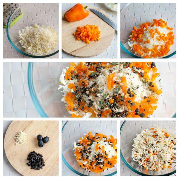 Начинка для рулетиков из индейки: сыр, сладкий перец, оливки и чеснок
