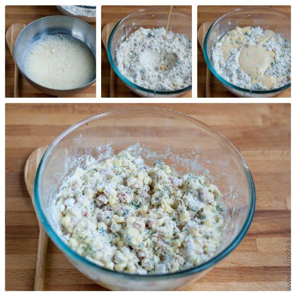 Взбиваем яйцо с сахаром, добавляем молоко, взбиваем и тщательно перемешиваем