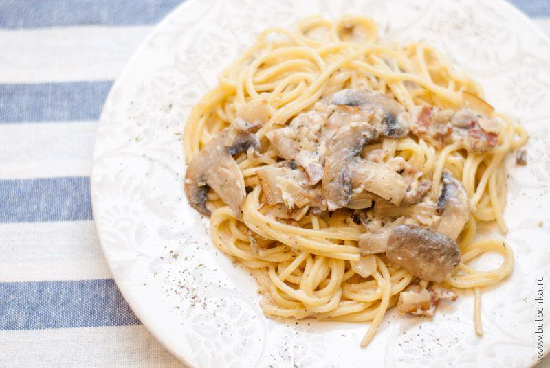 Спагетти сгрибами всливочном соусе