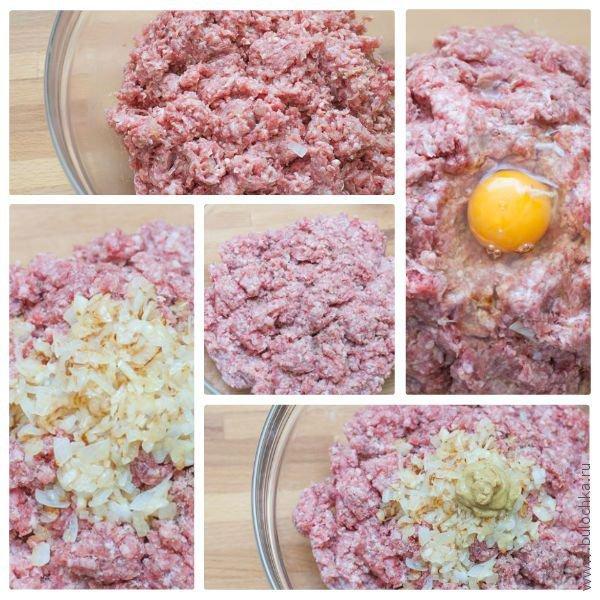 Готовим начинку из фарша, горчицы, яиц и лука