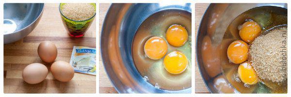 Яйца взбиваем с сахаром