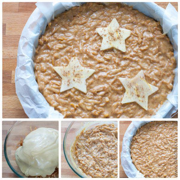 Смешиваем тесто с айвой, заливаем в форму для выпечки и отправляем пирог в духовку