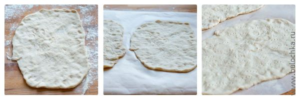 Тесто раскатать, переложить на бумагу для выпечки, проткнуть в нескольких местах вилкой