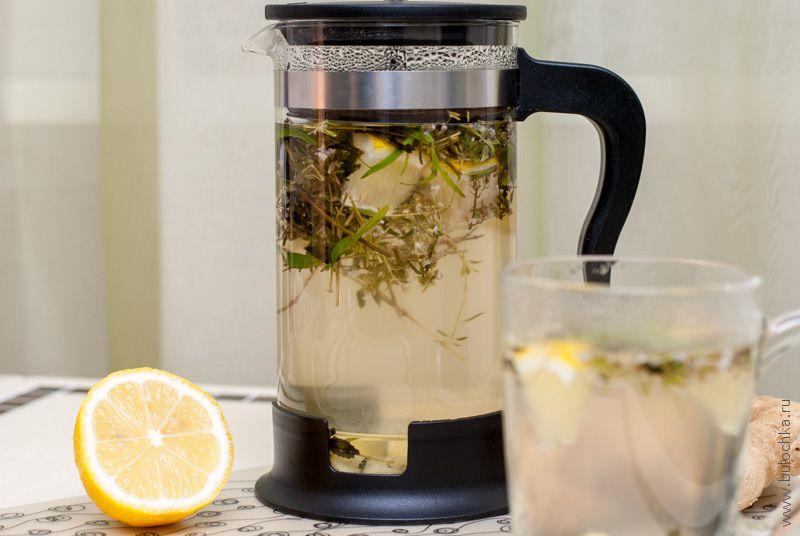 Чай с эстрагоном, лимоном и мятой