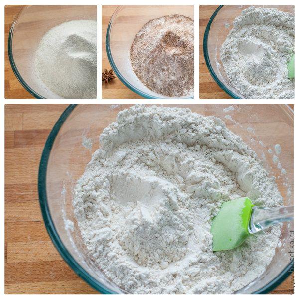 Смешиваем просеянные сухие ингредиенты и пряности