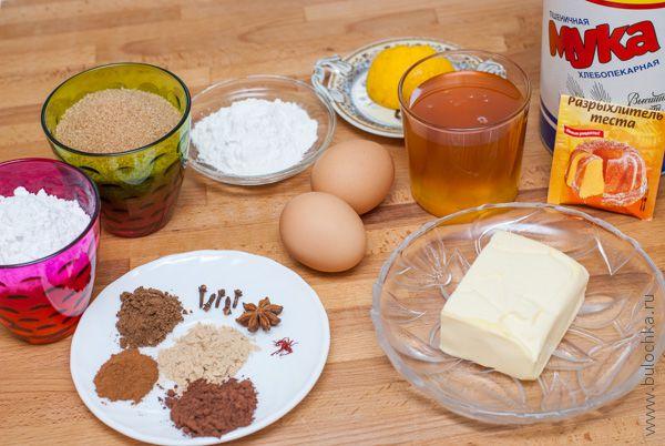 Ингредиенты на имбирное печенье с глазурью