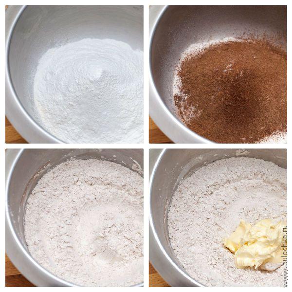 Просеиваем сухие ингредиенты, смешиваем, добавляем масло