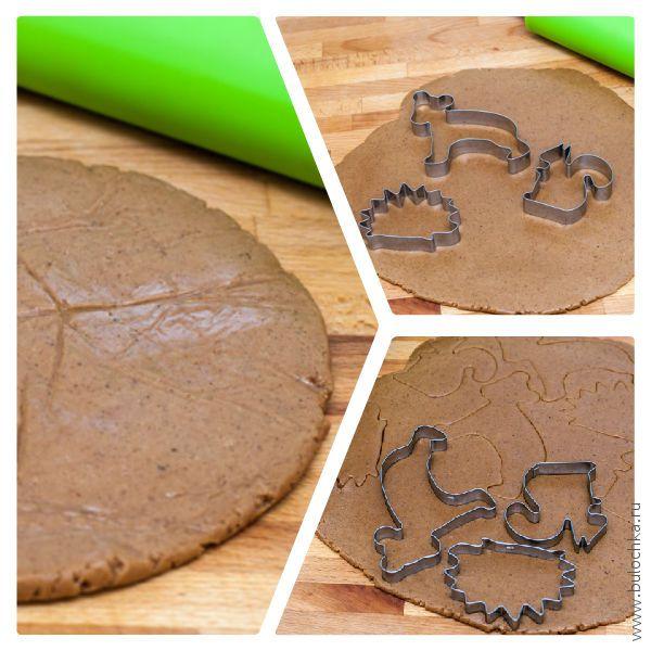 Раскатываем тесто и с помощью форм вырезаем фигурки нашего имбирного печенья