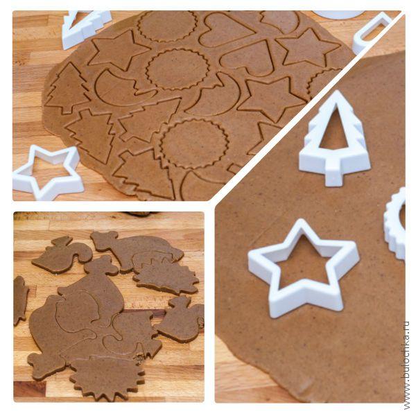 Продолжаем вырезать печенье пластмассовыми или металлическими формами