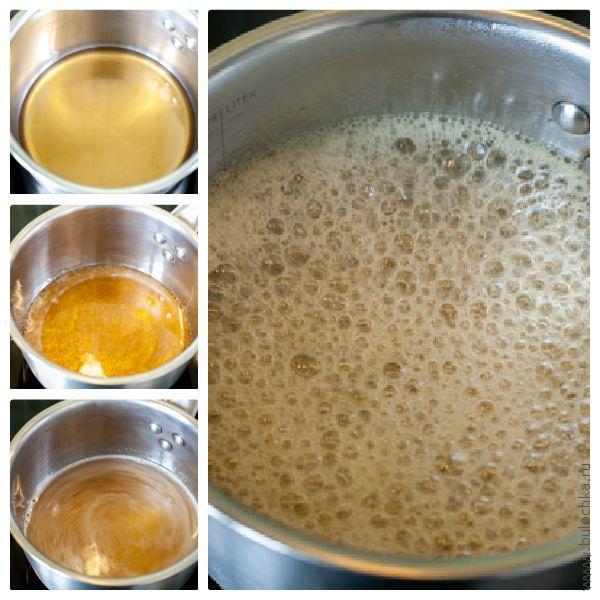 Готовим глазурь для черёмухового торта из мёда и сока лимона