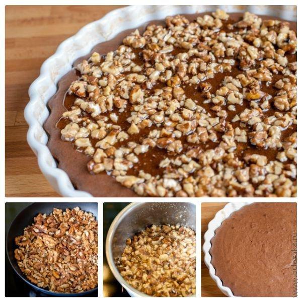 Добавляем орехи и украшаем черёмуховый торт
