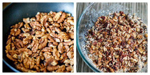 Затем добавляем предварительно обжаренные и порубленные орехи: пекан и грецкие