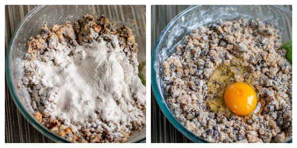 Следующими в тесто для печенья мы добавим муку и яйца