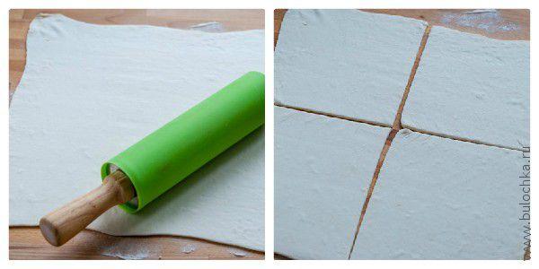 Раскатываем тесто, режем на 4 части в виде квадратов
