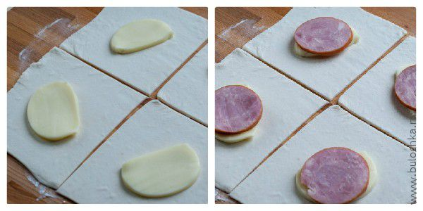 Выкладываем начинку: сыр и ветчину
