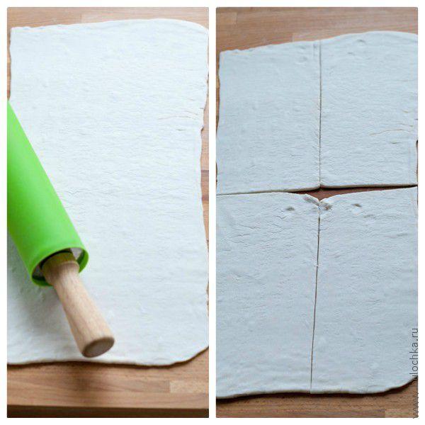 Раскатываем тесто в виде прямоугольника, разрезаем на 4 равные части