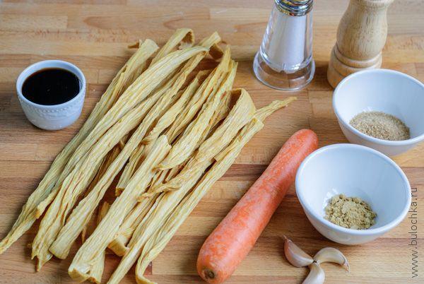 Ингредиенты для приготовления салата из соевой спаржи