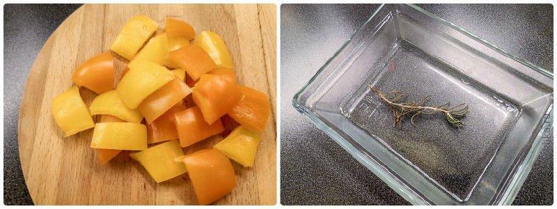Подготовим сладкий перец и судочки для запекания в духовке.