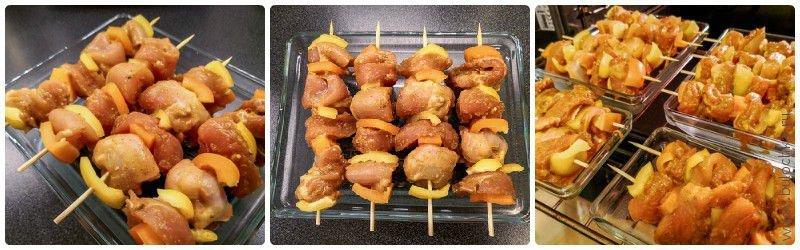 Нанизываем мясо на шпажки поочерёдно со сладким перцем. Отправляем в духовку.