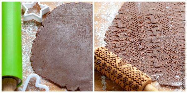 Раскатаем тесто для имбирного печенья и пройдёмся по нему скалкой с рисунком