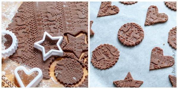 Формуем наше имбирное печенье, выкладываем на противень и отправляем в духовку на 5-7 минут