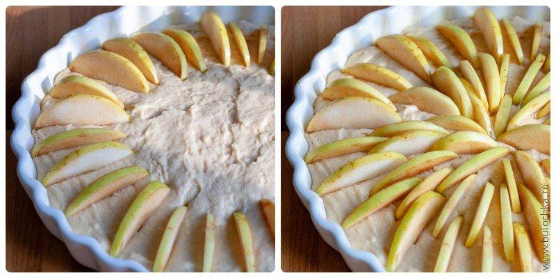 Яблочные дольки втыкаем в тесто пирога по кругу