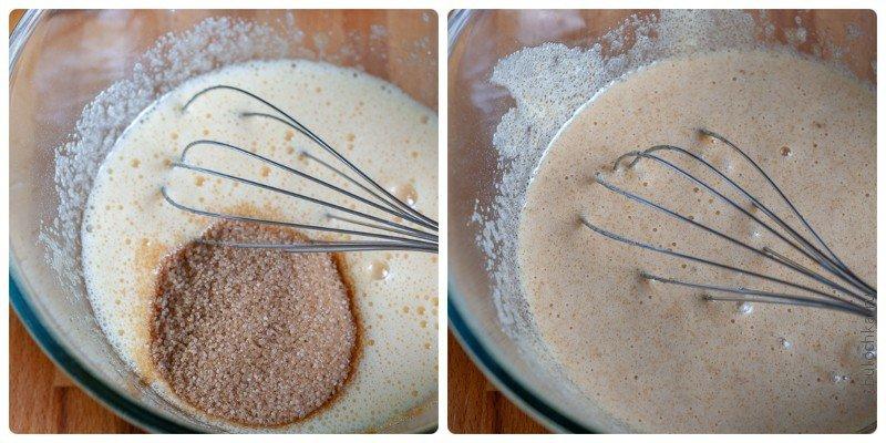 Тесто для пирога: добавляем коричневый сахар и продолжаем взбивать