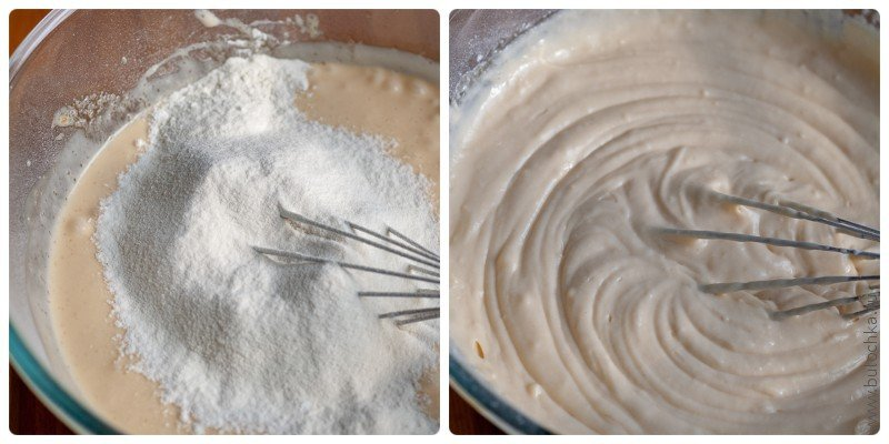 Тесто для пирога: смешиваем сухие ингредиенты с мукой, добавляем в тесто