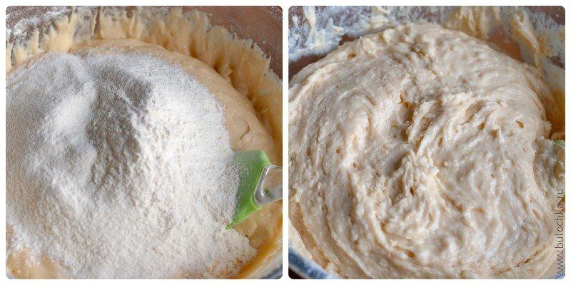 Тесто для пирога: добавляем всю муку и вымешиваем лопаткой