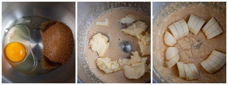 Яйцо взбиваем с сахаром, добавляем масло и банан
