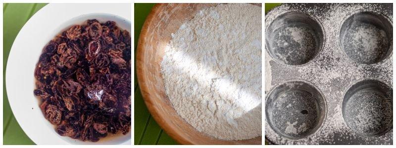 Замачиваем изюм, просеиваем муку с разрыхлителем и солью, готовим формы для выпечки