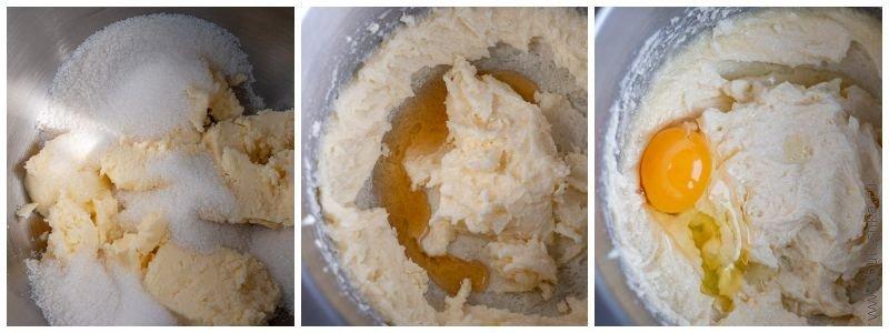 Масло растираем с сахаром, добавляем коньяк и яйца