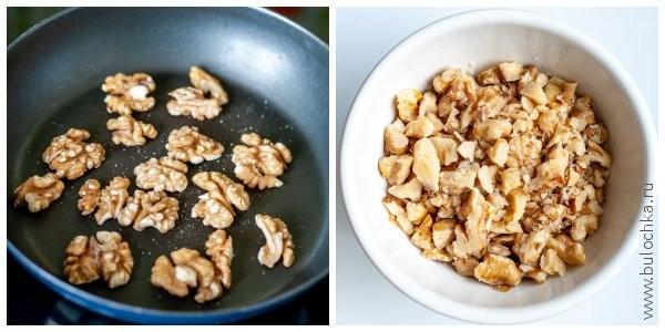 Обжариваем грецкие орехи, измельчаем их