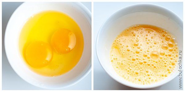 Взбиваем яйца до появления легкой пены