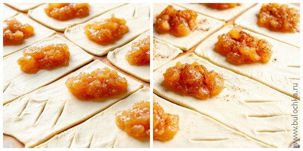 Выкладываем начинку — яблочное варенье и посыпаем корицей