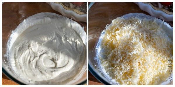 В чашке смешиваем сливки и натёртый сыр для соуса-заливки киша