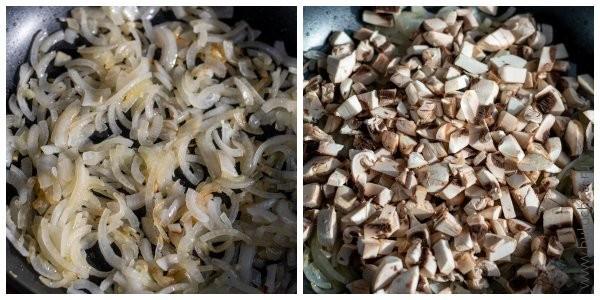 Добавляем грибы в пассированный лук
