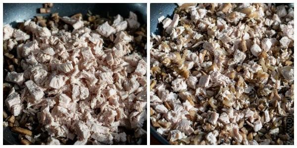 Через 5-7 минут добавляем курицу. Солим, перчим, перемешиваем. Начинка готова.