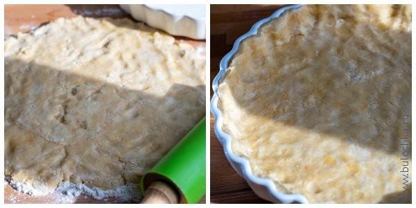 Раскатываем тесто. Перекладываем его в форму, выравниваем края.