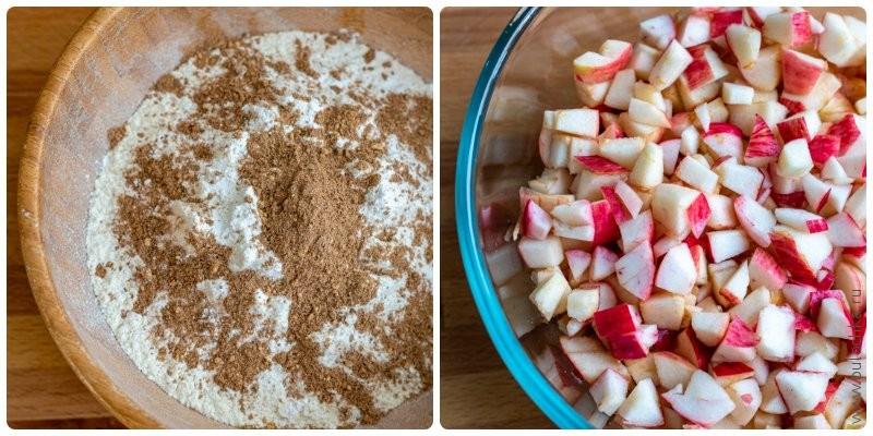 Пряная шарлотка с мёдом — подготовка яблок и сухих ингредиентов