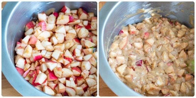 Пряная шарлотка с мёдом — добавляем яблоки в тесто