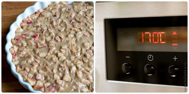 Пряная шарлотка с мёдом — перекладываем в форму и отправляем в духовку
